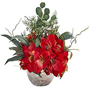 Nearly Natural Amaryllis and Eucalyptus Artificial Silver Vase Silk Arrangements, Red