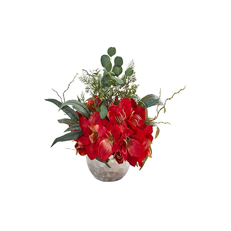 silk flower arrangements nearly natural 1925-rd amaryllis and eucalyptus artificial silver vase silk arrangements red