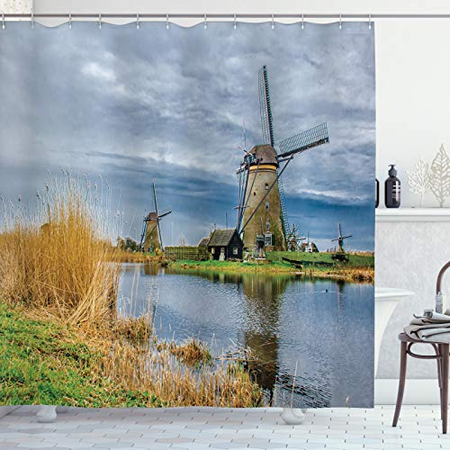 ABAKUHAUS Nederlands Douchegordijn, Molens van Kinderdijk Photo, stoffen badkamerdecoratieset met haakjes, 175 x 220 cm, Veelkleurig