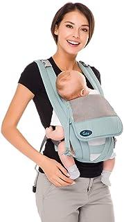 Baby-Trage Tragetasche Baby für Säuglinge und Kleinkinder Rückentrage Baby Bauchtrage Ergonomische Babytrage Bauchtrage Reine Baumwolle,Leicht Grün…
