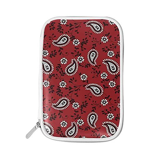 HaJie - Bolsa de lápices étnico Boho Paisley con cremallera de flores bolsa de papelería escolar para bolígrafos de gran capacidad para mujeres