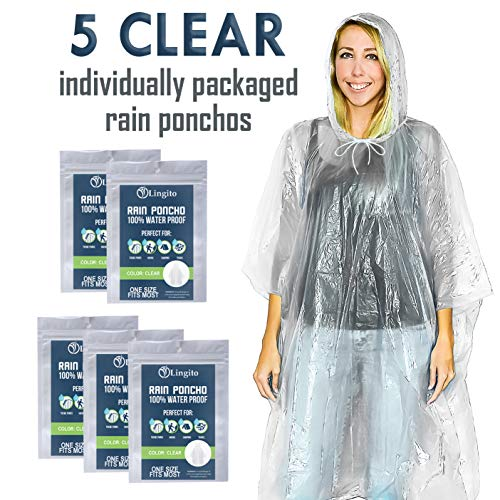 Lingito 5 Clear Emergency Rain Ponchos for Adults, Thicker, 100% Waterproof Emergency Rain Poncho- for Amusement Parks, Hikes, Camping and Concerts