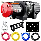 VZCY 12V 4500 lbs Electric Winch, Waterproof Towing Wire Rope Winch Kit with Wireless Remote Control/Mounting Bracket for Towing ATV/UTV Off-Road Trailer Marine Towing Kit