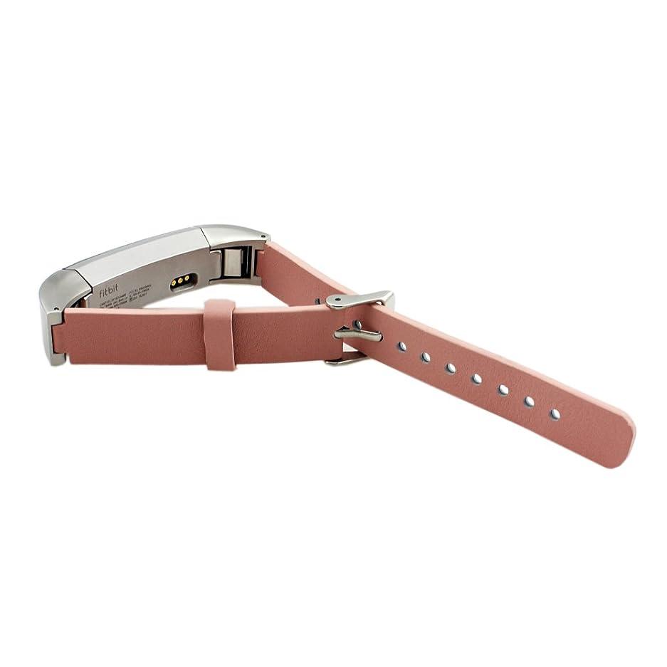 自分の旅行者ウィザードFitbit Alta本革 バンド Pinhen Fitbit Alta Classic 交換ベルト腕時計 レザーストラップFitbit Alta対応リストバンド 穴留め式バンド 交換用バンド (Leather Pink)
