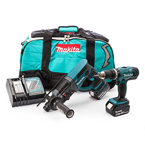 Makita DLX2025M Perceuse Visseuse à percussion DHP453Z + perforateur Burineur SDS plus DHR202Z + 2 batteries 18V 4Ah Li-Ion + Sac de transport, Bleu