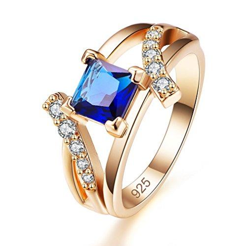 Yazilind Shiny Blue Zirkonia Ringe vergoldet eingelegten Strass Engagement Schmuck für Damen Größe 18.8