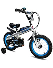 Cyfie ナイト 子供用自転車 泥除け付き 補助輪付き 滑り止めハンドル付き 格好いい 簡単に安装 安全 丈夫 二つブレーキ 二つサドル