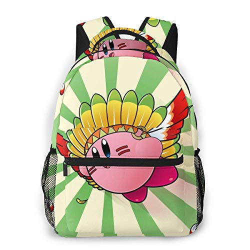 IUBBKI Kirdy Anime Casual Backpack Cute Cartoon School Student Bookbag Backpack for Mens and Women Travel Bag Rucksack Kid Child Girl Outdoor Knapsack High Capacity Backpacks
