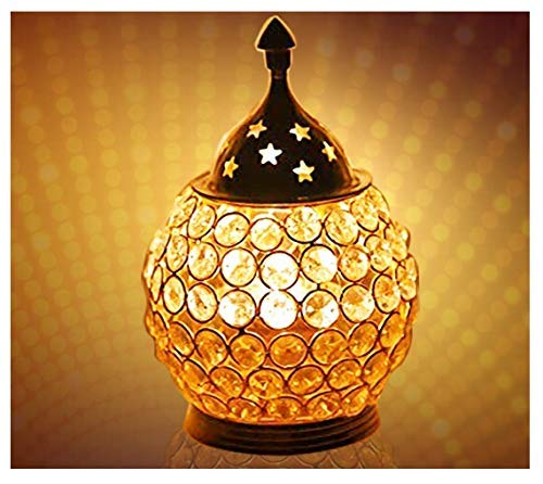 Crafts'man Akhand Diya decoratieve messing kristallen olie lamp thee licht houder lantaarn ovale vorm | Puja Lamp
