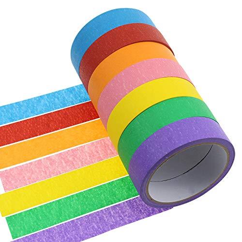 meetory 7Rollen 2,5cm farbigen Klebeband Rainbow Papier Labeling Tape Graphic Art Klebeband Rolle für Heimwerker und Geschenke, verformend