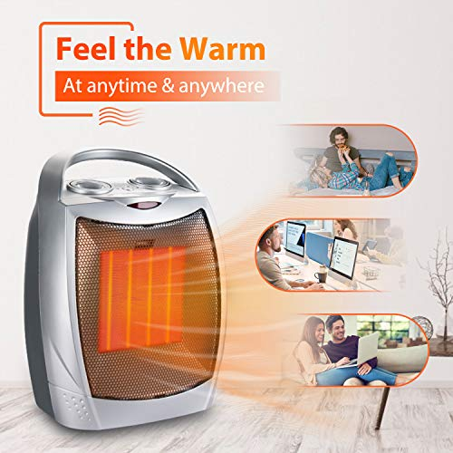 Portable Electric Space Heater - 1500W/750W Personal Room Heater with Thermostat, Small Desk Ceramic Heater with Tip-Over & Overheat Protection ETL Certified for Office|Indoor|Bedroom(Sliver)