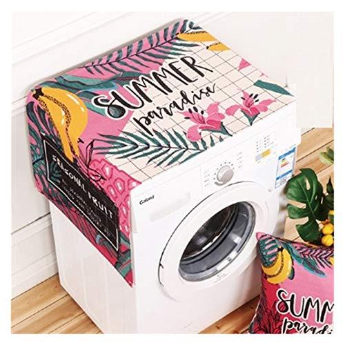 YSJJWDV Cubierta Polvo Lavadora Dibujos Animados de Lavadora Impresa Cubiertas de Lino a Prueba de Polvo refrigerador Superior Organizador Frigorífico con Bolsillo de Almacenamiento en casa