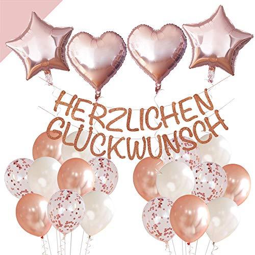 LumeeStar Herzlichen Glückwunsch Geburtstags-Dekoration mit Glitzer-Girlande auch Konfirmation Hochzeit Jubiläum Rente - Rosegold - Deko Set für Konfetti Luftballons Herzen Sterne