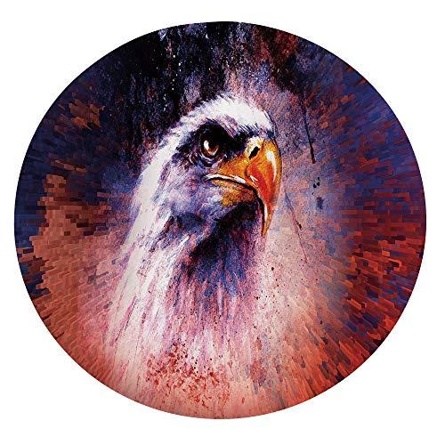 Mantel ajustable de poliéster con bordes elásticos, diseño de animales agresivos sobre fondo abstracto, estilo águila, para mesas redondas de 45 a 48 pulgadas, protección para tu mesa, color violeta