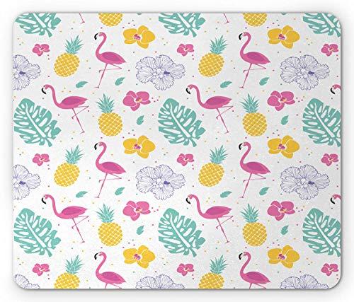 Luau Mouse Pad, Blütenblätter Monstera Blätter Flamingo Ananas und unregelmäßige Tupfen, Rechteck rutschfestes Gummi-Mauspad, Standardgröße, weißes Seafoam Pink und Senf