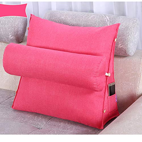 Big Backrest Reading Bed Rest Pillow, Cotton Linen Memory Foam Fill, Reading Bolster Pillow,Its Moisture Absorption And Air Permeability Are Very Good,Pink