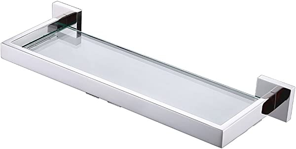 KES Bathroom 7MM Thick Tempered Glass Shelf Wall Mount Rectangular SUS304 Stainless Steel 14 Inch Long Polished Finish A2521S20