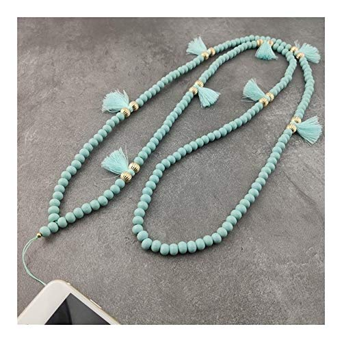 chenran Gift 9 Color Mobile Phone Lanyard Strap Wood Bead Tassel Hanging Neck Rope Telephone Belt Hang Chain Bracelet Accessories (Metal Color : Aqua)