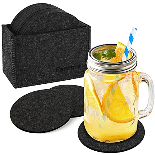 Farruto Untersetzer Gläser 16er Set, Filz Untersetzer rund für Gläser, Waschbarer Isolieruntersetzer Mit Aufbewahrungsbox Getränke, Tassen, Bar - Premium Tischuntersetzer Filzuntersetzer