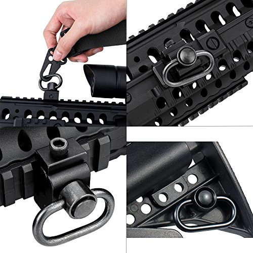 Gun Sling QD Airsoft Sling Swivel Mount Adjustable Tactical Rifle Military Army Heavy Duty Release Button with Base Rail Push Button for Outdoor Sports,Hunting,Shooting