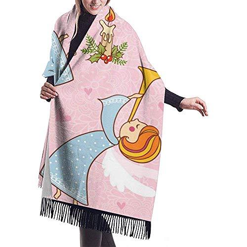 Regan Nehemiah grote sjaal-kerstnaadloos patroon met de engelen, de sjaal-verpakking-winter-warme sjaal-cap-grote sjaal-reis-plafond-sjaal spelen