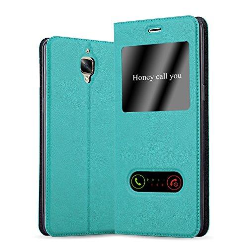 Cadorabo Coque pour OnePlus 3 / 3T en Turquoise Menthe - Housse Protection avec Stand Horizontal et Deux Fenêtres - Portefeuille Etui Poche Folio Case Cover