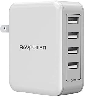 USB Wall Charger RAVPower 40W 8A 4-Port Multi-Port Travel Charger Charging Station, Compatible iPhone 11 Pro Max XS Max XR X, Ipad Pro Air Mini, Galaxy S9 S8 Note 8 Edge, Smartphone, Tablet and More