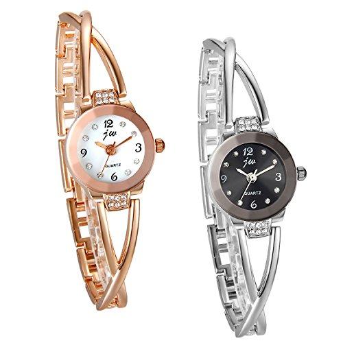 JewelryWe 2pcs Damen Armbanduhr, Elegant Kreuzung Armband Design mit Strass mit Digital Zifferblatt Spangenuhr, Legierung, Silber Rosegold