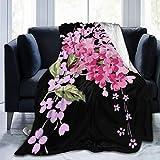 XTGOO Black Vintage Flower Print Flannel Fleece Blanket Throw Ultra-Soft Velvet Plush Throw Blanket