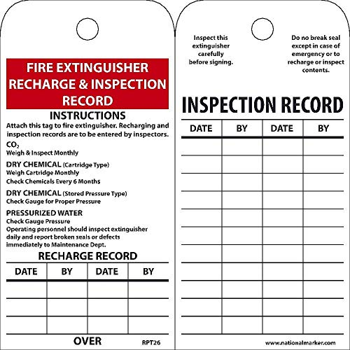 National Marker Tags, Fire Extinguisher Recharge And Inspect., 6X3, Polytag, Box Of 250
