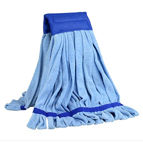 Large Microfiber Tube Mop (18 oz.) | Commercial Wet Mop Head Replacement | Dries 3X Faster Than Cotton String Mops | Industrial, Machine Washable Refill (Blue)