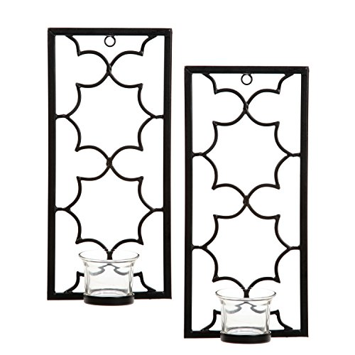 Hosley's Set of Two, 11' High Iron Tea Light LED Candle Wall Sconces, Black. Hand Made by Artisans. Ideal Gift for Wedding, Special Occasion, Spa, Aromatherapy, Meditation Setting. O3