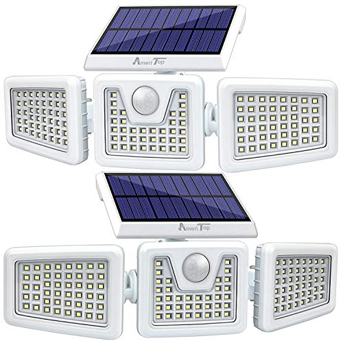 Solar Lights Outdoor -2 Pack, AmeriTop 800LM 128 LED 6500K Motion Sensor Lights Wireless; 3 Adjustable Heads, 270° Wide Angle Illumination, IP65 Waterproof, Security LED Flood Light (Daylight)