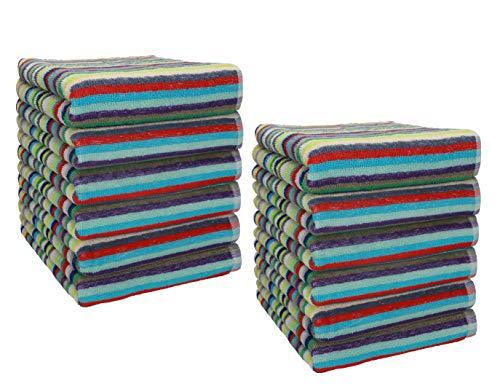 Betz 12 Stück Handtücher Set Grubentuch Arbeitshandtuch Küchentuch Handtuch Helgoland Größe 50 x 90 cm 100% Baumwolle, bunt gestreift