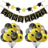 Migaven 31Pcs 2021 Kit De Decoración De Fiesta De Graduación Incluye 1 Pancarta De Papel 28 Globos Metálicos De Látex 2 Cintas Para Suministros De Fiesta De Graduación De La Universidad De Secundaria