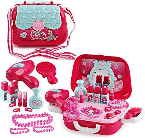 deAO Estuche de Maquillaje y Joyería de Juguete Playset en Maletín Bolso de Mano con Accesorios Incluidos (Cofre Maletín)