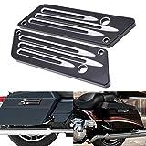 KATUR Motorrad SaddleBag Latches Cover Black Chrome Tief Edge Cut CNC Billet Festsatteltasche Lasche Deckel Hardware-Kit für Harley Davidson Touring Electra Glide Ultra-2014-2017