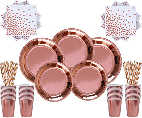 Rose Gold Party Supplies Suministros de Fiesta de Oro Rosa 146 Piezas de vajilla - Platos de Papel de Oro Rosa, Tazas de Oro Rosa, servilletas y pajitas de cóctel - Sirve 24 Invitados