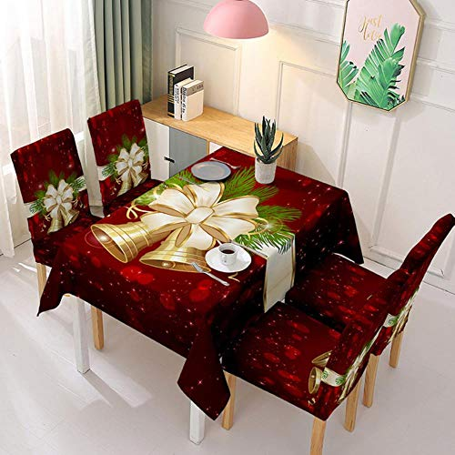 Mantel de Navidad impermeable y cubierta de silla elástica Santa Claus rectangular cubierta de mesa de comedor para decoración de fiestas