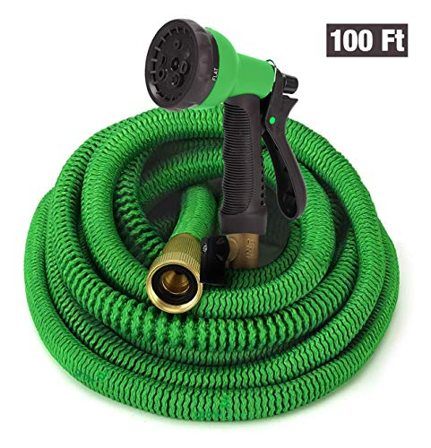 GrowGreen Hoses, Expandable Garden Hose, Water Hose with High Pressure Hose Spray Nozzle, Flexible Garden Hose with All Brass Connectors, Leak Proof, Durable, Expanding Garden Hose (100 Feet, Green)