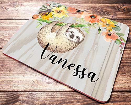 Personalized Sloth Mouse Pad Custom Name Floral Animal Mousepad Sloth Gifts for Women