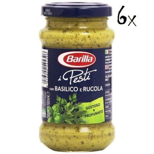 6x Barilla Pesti Basilico e rucola pesto mit Basilikum und Rucola 190g italien Soße