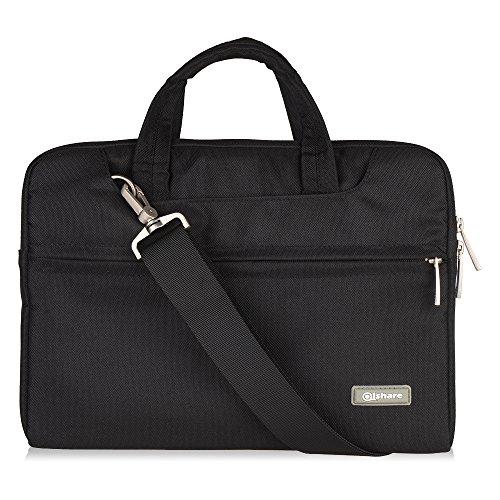 Qishare borsa per laptop da 11,6 pollici, borsa per laptop in poliestere multifunzionale, tracolla regolabile e maniglia soppressa, cartella documenti portatile (11,6-12 pollici, nero)