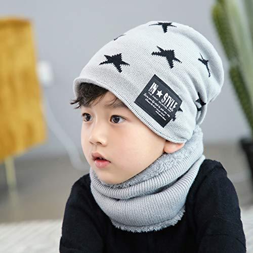 JXFM nieuwe herenmuts vijfpuntige ster wollen muts herfst en winter warm gebreid ouder-kind-hoed pak hoed mannelijk winter kinderen lichtgrijs