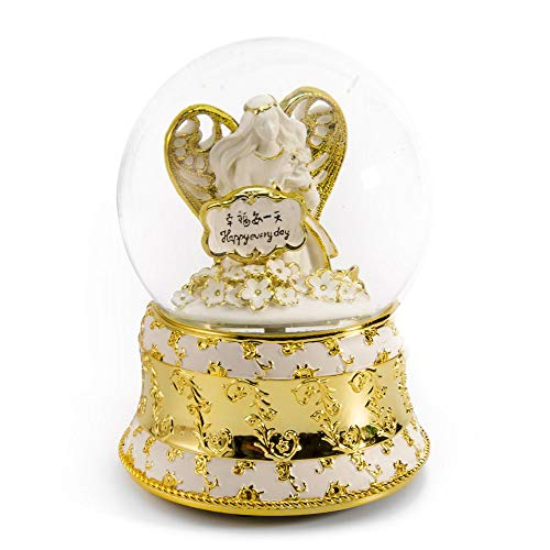 MusicBoxAttic Exquisite Pearl White and Ivory with Gold Accents Angel of Peace Water Globe - Many Songs to Choose - Three Coins in The Fountain