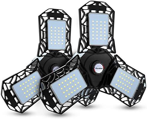 Led Garage Lights, 2 Pack Deformable Garage Ceiling Lights, CRI80 Led Shop Lights with 3 Adjustable Panels, 3 Prong Garage Work Lights for Workshop Basement Bay Lighting