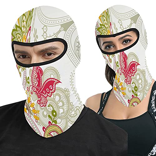 Abstract Floral and Butterfly Full Face Ma-sk Hood Outdoor Tactical Headcover Riding Motorcycle Mask Hunting Fishing Windproof Sunscreen