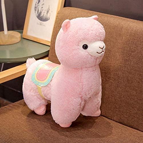 XIAN Linda silla de montar de alpaca juguetes de peluche suave de alpacasso de alpaca, juguete de peluche para niños, regalo de cumpleaños de 50 cm B granizo (color: B, tamaño: 35 cm)