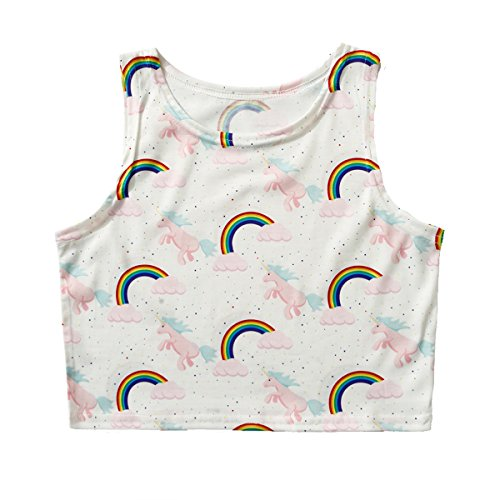 Pokemon Go! Women Bustier Crop Top Skinny T-Shirt Sports Dance Tops Vest Tank … (Rainbow)