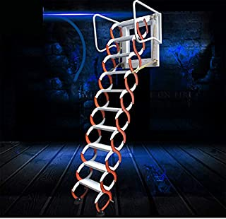 Manual Operated Wall Mounted Collapsible Ladder Foldable Loft External Staircase Fold Up Stairs to Attic Indoor